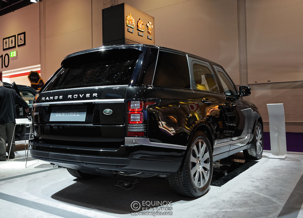 London, United Kingdom - 18 September 2015<br /> Land Rover display their new armoured vehicles, the £300,000 Range Rover Sentinel and the £160,000 Land Rover Discovery Sentinel which is set to be the new standard for UK government vehicle protection, at the defence and security exhibition DSEI at ExCeL, Woolwich, London, England, UK.<br /> (photo by: EQUINOXFEATURES.COM)<br /> <br /> Picture Data:<br /> Photographer: Equinox Features<br /> Copyright: ©2015 Equinox Licensing Ltd. +448700 780000<br /> Contact: Equinox Features<br /> Date Taken: 20150918<br /> Time Taken: 14043436<br /> www.newspics.com
