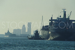 Tanker and barge on the water