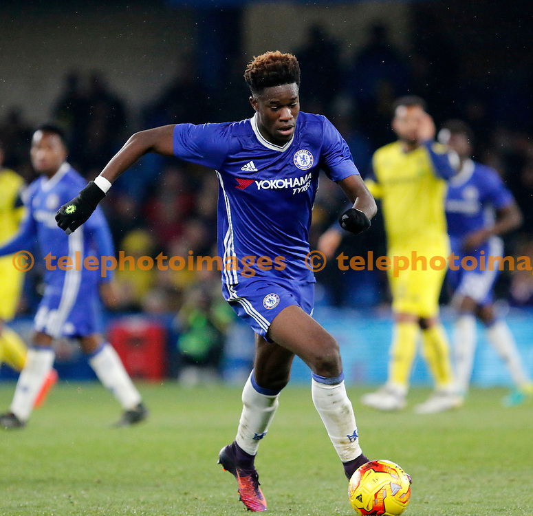 Chelsea's Ike Ugbo in action during the Checkatrade Trophy match between Chelsea U21's and Oxford United at Stamford Bridge in London. November 8, 2016.<br /> Carlton Myrie / Telephoto Images<br /> +44 7967 642437