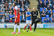 Portsmouth Forward, Conor Chaplin (19) leaves the pitch after a head injury during the EFL Sky Bet League 1 match between Portsmouth and Fleetwood Town at Fratton Park, Portsmouth, England on 16 September 2017. Photo by Adam Rivers.