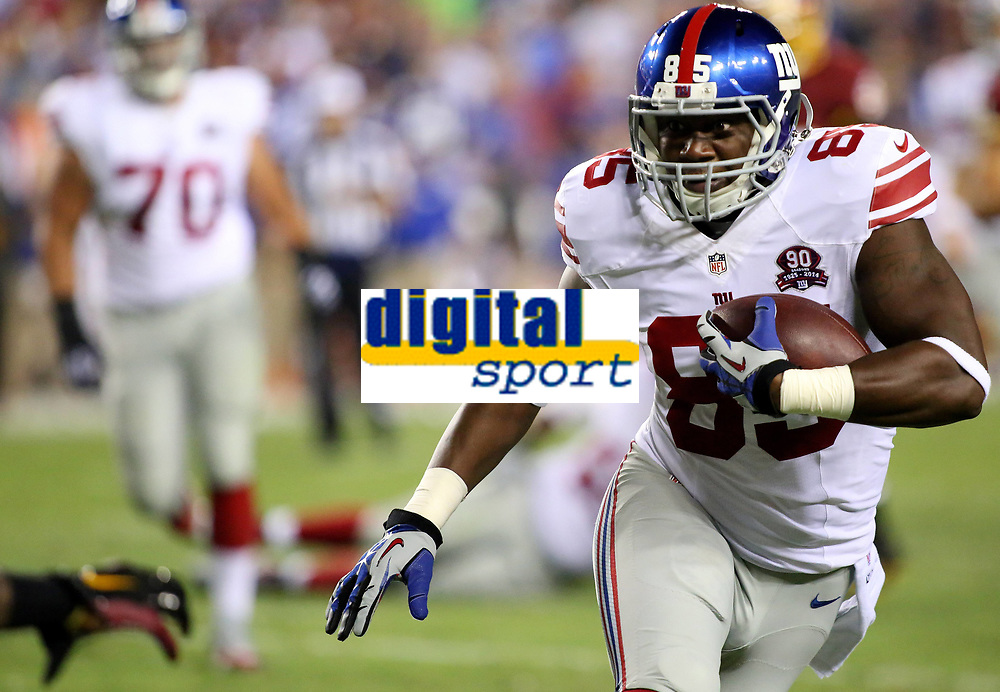 September 25, 2014: New York Giants tight end Daniel Fells (85) in action during a match between the Washington Redskins and the New York Giants at FedEx Field in Landover, Maryland. NFL American Football Herren USA SEP 25 Giants at Redskins PUBLICATIONxINxGERxSUIxAUTxHUNxRUSxSWExNORxONLY Icon140925093<br /> <br /> September 25 2014 New York Giants Tight End Daniel Fells 85 in Action during A Match between The Washington Redskins and The New York Giants AT FedEx Field in Landover Maryland NFL American Football men USA Sep 25 Giants AT Redskins PUBLICATIONxINxGERxSUIxAUTxHUNxRUSxSWExNORxONLY