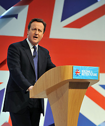 The Prime Minister David Cameron during his keynote speech at the Conservative Party Spring Conference in Cardiff, UK, March 6, 2011. Photo By Andrew Parsons / i-Images.