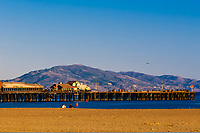 Ledbetter Beach with Stearns Wharf behind, Santa Barbara, California USA.