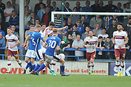 Rochdale Midfielder, Matt Done (16) shoots during the EFL Sky Bet League 1 match between Rochdale and Bradford City at Spotland, Rochdale, England on 21 April 2018. Picture by Mark Pollitt.