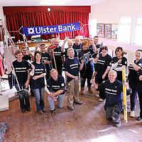 29 October 2011; Pictured at Lattin Cullen GAA Club during the Ulster Bank GAA Force initiative weekend were, members of Lattin Cullen GAA Club and Ulster Bank. A team of local volunteers, club members and Ulster Bank employees took over Lattin Cullen GAA Club this weekend as part of Ulster Bank GAA Force ñ an initiative set up to encourage local communities to help improve their GAA club's facilities. Lattin Cullen GAA Club was recently awarded a support package worth Ä5,000 as one of four provincial runners-up in the Ulster Bank GAA Force initiative. The overall winner of Ulster Bank GAA Force was St. Josephís GFC Ederney in Fermanagh, while the three additional runnerís up were St. Josephís OCB GAA Club, Dublin, Sean Dolan GAA Club, Derry and Kilglass GAA Club, Roscommon. The Ulster Bank GAA Force initiative was open to GAA clubs across the island of Ireland. Clubs were asked to submit their entries on Ulster Bankís dedicated GAA website ñ www.ulsterbank.com/gaa. Entrants were asked to provide details of their clubís plans to make improvements, outline the role of the club in their locality and the benefits the makeover would have on the club and the wider community. The first 100 clubs who registered also received a mini support package to the value of Ä100. Ulster Bank GAA Force Weekend, Lattin Cullen GAA Club, Lattin Village, Tipperary. Picture credit: Matt Browne / SPORTSFILE *** NO REPRODUCTION FEE ***