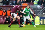 Martin Boyle (#17) of Hibernian takes on John Souttar (#4) of Heart of Midlothian during the William Hill Scottish Cup 4th round match between Heart of Midlothian and Hibernian at Tynecastle Stadium, Gorgie, Scotland on 21 January 2018. Photo by Craig Doyle.