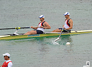 Munich GERMANY,  GBR M2-, Bow and right Peter REED and Andy TRIGGS HODGE qualify, for Sundays final of the men's pairs, at the 2nd Round FISA World cup on the Olympic Rowing Course Munich, Saturday  20/06/2009, [Mandatory Credit. Peter Spurrier/Intersport Images]