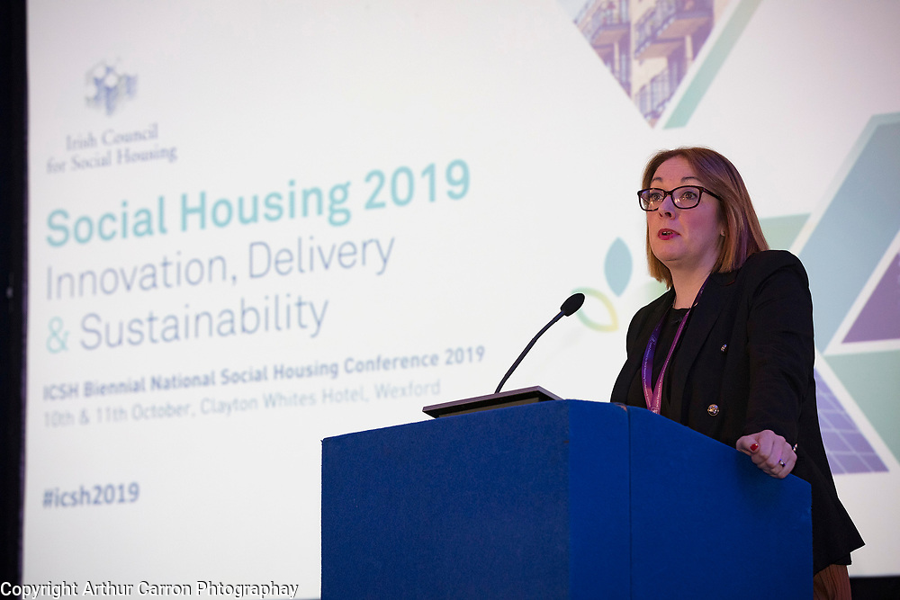 NO FEE PICTURES                                                                                                                                              11/10/19 Nina Murray, Principal Officer, Department of Housing, Planning and Local Government at the Irish Council for Social Housing (ICSH) Biennial Finance and Development Conference 2019 at the Clayton Whites Hotel, Wexford 10-11 October. The two-day conference brings together 300 delegates including active housing associations, currently facing the challenge of growing their housing stock and making it more environmentally sustainable. At the event, stakeholders from the public, not-for-profit and private sectors will discuss how collaboration and innovation can develop the sector's capacity to build more sustainable and climate resilient communities.Picture: Arthur Carron
