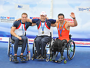 Bled, SLOVENIA,  GB Rowing ASM1X medalist, left, Silver medalist, Andy HOUGHTON, Centre Gold Medalist, Tom AGGAR, Right, ESP Bronze medalist, on the second day of the FISA World Cup, Bled. Held on Lake Bled.  Saturday  29/05/2010  [Mandatory Credit Peter Spurrier/ Intersport Images] .  Adaptive, Rowing. Para Rowing,