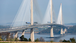 View of Queensferry Crossing bridge spanning the River Forth in Scotland , UK