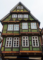View of decoration on gable of traditional house in Goslar Lower Saxony, Germany