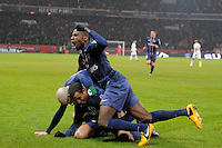 FOOTBALL - FRENCH CHAMPIONSHIP 2012/2013 - L1 - PARIS SAINT GERMAIN v OLYMPIQUE MARSEILLE - 24/02/2013 - PHOTO JEAN MARIE HERVIO / REGAMEDIA / DPPI - JOY PSG AFTER THE LUCAS GOAL