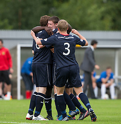 Falkirk's Conor McGrandles cele scoring their goal.<br /> Dumbarton 1 v 1 Falkirk, Scottish Championship 10/8/2013.<br /> ©Michael Schofield.