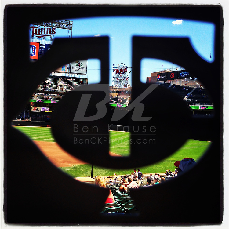 An Instagram of the view through a Minnesota Twins spatula fan giveaway at Target Field in Minneapolis, Minnesota.
