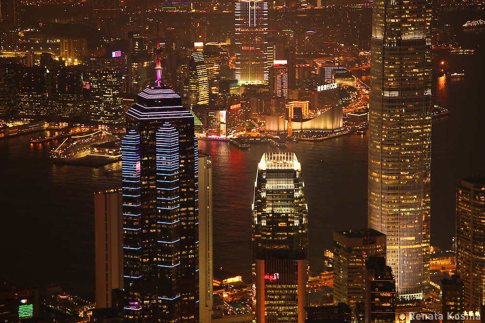 A night view of Hong Kong from Victoria Peak and Kowloon across Victoria Harbor