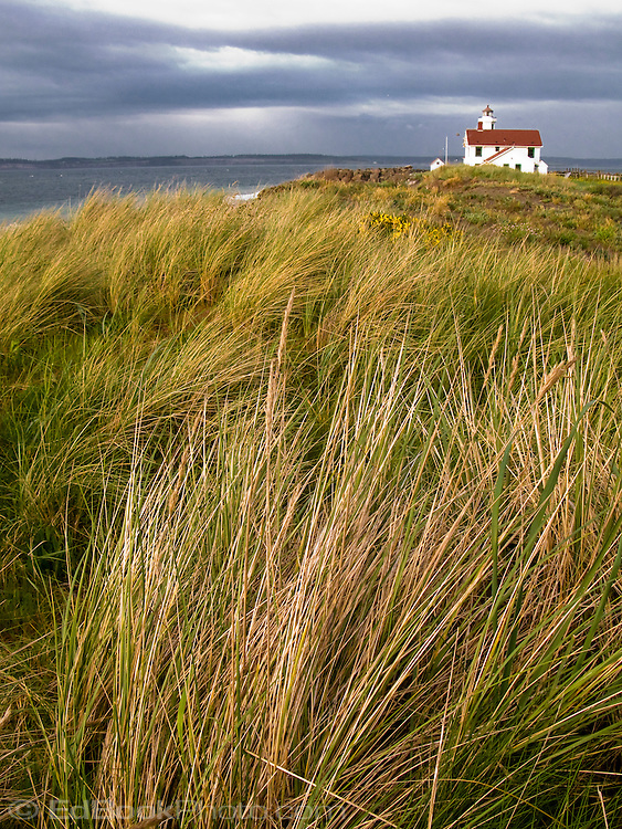 Point Wilson Lighthouse on Fort Worden State Park, Admiralty Inlet,  on Puget Sound, Port Townsend, Washington, USA