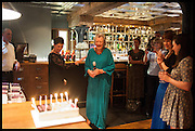 LYNN BARBER, Lynn Barber celebrates her 70th birthday and the publiction of ' A Curious Career. Hixter, 9a Devonshire Sq. London. 8 May 2014.