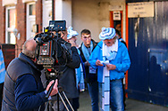 A Coventry City fan attracts the tv camera ahead of the EFL Sky Bet League 1 match between Luton Town and Coventry City at Kenilworth Road, Luton, England on 24 February 2019.