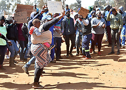 South Africa - Johannesburg - 17 August 2020 - Residents of Patsing informal settlement near Lenasia, south of Johannesburg, who occupied land illegally in recent years, protested after learning of allegations that they will be forcefully remove soon,residents vowed no one will touch their homes after three failed attempts from the Johannesburg Metro Police Department(JMPD) in recent times. Residents protested asMayor Geoff MakhuboandGauteng's Cooperative Governance MEC Lebogang Maile were launchingthe province's anti-land invasion strategy.<br /> Picture: Itumeleng English/African News Agency(ANA)
