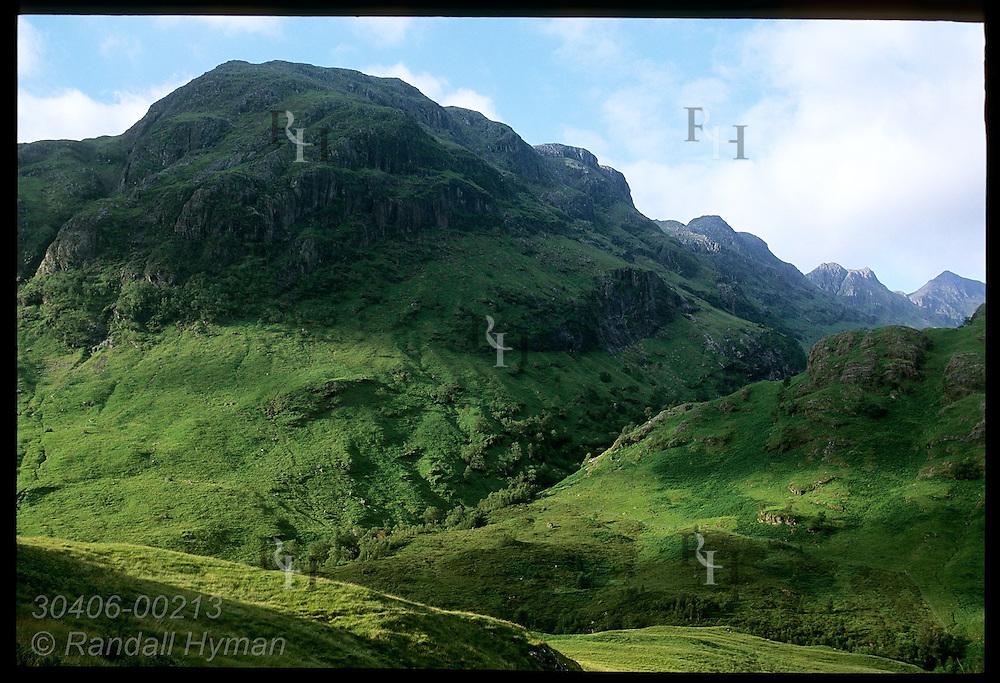 Lush ground vegetation carpets pastures and mountain slopes of Glen Coe in July; Glencoe, Scotland.