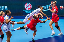 Beatrice Edwige of France, Estelle Nze Minko of France, Daria Dmitrieva of Russia in action during the Women's EHF Euro 2020 match between France and Russia at Jyske Bank BOXEN on december 11, 2020 in Kolding, Denmark (Photo by RHF Agency/Ronald Hoogendoorn)