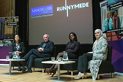 © Licensed to London News Pictures . 27/11/2014 . Manchester , UK . L-R panel chair Bridgid Nzekwu , FA Chairman Greg Dyke , TV journalist Gillian Joseph and Chair of the Muslim Women's Sports Foundation , Rimla Akhtar at a public forum on Tackling Discrimination in Football , at Manchester University . The debate , sponsored by race equality think tank , The Runnymede Trust , addressed issues of racism and homophobia in soccer . Photo credit : Joel Goodman/LNP