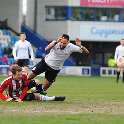 TELFORD COPYRIGHT MIKE SHERIDAN Brendon Daniels of Telford is fouled during the Vanarama Conference North fixture between AFC Telford United and Altrincham at The New Bucks Head on Saturday, February 1, 2020.<br /> <br /> Picture credit: Mike Sheridan/Ultrapress<br /> <br /> MS201920-044