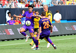 July 22, 2018 - Charlotte, NC, U.S. - CHARLOTTE, NC - JULY 22: Liverpool midfielder Curtis Jones (48) and Liverpool defender Andrew Robertson (26) try to keep the ball away from Borussia Dortmund midfielder Marius Wolf (27) during an International Champions Cup match between LiverPool FC and Borussia Dortmund on July 22, 2018 at Bank Of America Stadium in Charlotte,NC.(Photo by Dannie Walls/Icon Sportswire) (Credit Image: © Dannie Walls/Icon SMI via ZUMA Press)