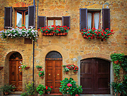 House fronts in the Tuscan hill town of Pienza