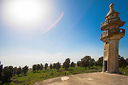 Israel, Golan Heights, Minaret of a Deserted Syrian mosque abandoned during the Six Day War of 1967