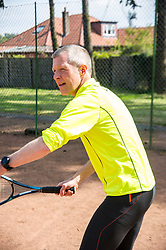 Pictured: Willie Rennie<br /> Scottish Liberal  Party leader Willie Rennie headed to Bridge of Alaln today to meet local candidates and see how his tennis is coming along. He met candidates Fayzan Rehman (Stirling North) and Stuart Auld (Dunblane and Bridge of Allan)<br /> <br /> Ger Harley   EEm 28 February 2017