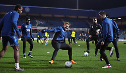 Derby County's Matej Vydra (centre) warms up before the Sky Bet Championship match at Loftus Road, London.