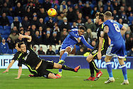 Cardiff City's Kadeem Harris (c) shoots over the bar as Brighton's Lewis Dunk (left on ground) tries to block the shot. EFL Skybet championship match, Cardiff city v Brighton & Hove Albion at the Cardiff city stadium in Cardiff, South Wales on Saturday 3rd December 2016.<br /> pic by Carl Robertson, Andrew Orchard sports photography.