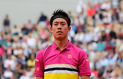 May 29, 2019: Paris, France: Seventh seeded KEI NISHIKORI of Japan plays against Jo-Wilfried Tsonga of France during their second round match of the French Tennis Open at Roland Garros. Nishikori won 4-6, 6-4, 6-4, 6-4. (Credit Image: © Judith White/ZUMA Wire)