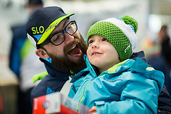 Gal Jakic with his son Leo Jakic prior to the departure of Slovenian Paralympic team for Pyeongchang 2018 Winter Paralympics, on March 3, 2018 in Letalisce Jozeta Pucnika, Brnik, Slovenia. Photo by Vid Ponikvar / Sportida