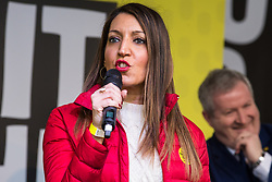 London, UK. 23rd March, 2019. Dr Rosena Allin-Khan, Labour MP for Tooting, addresses a million people taking part in a People's Vote rally in Parliament Square following a march from Park Lane.