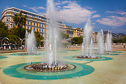 Fountains at Place Massena in downtown Nice on the French Riviera (Cote d'Azur)