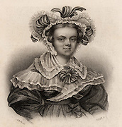 Mary Russell Mitford (1787-1855) English novelist and dramatist, born at Alresford, Hampshire.  Her best known work is the series of sketches 'Our Village' (1824-1832).  Engraving published 1836.
