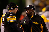 Ben Roethlisberger and head coach Mike Tomlin of the Pittsburgh Steelers during a loss to Indianapolis 24-20 on Sunday, Nov. 9, 2008.