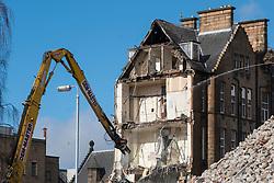 Demolition work on old Western Infirmary hospital in Glasgow West End , Scotland, United Kingdom