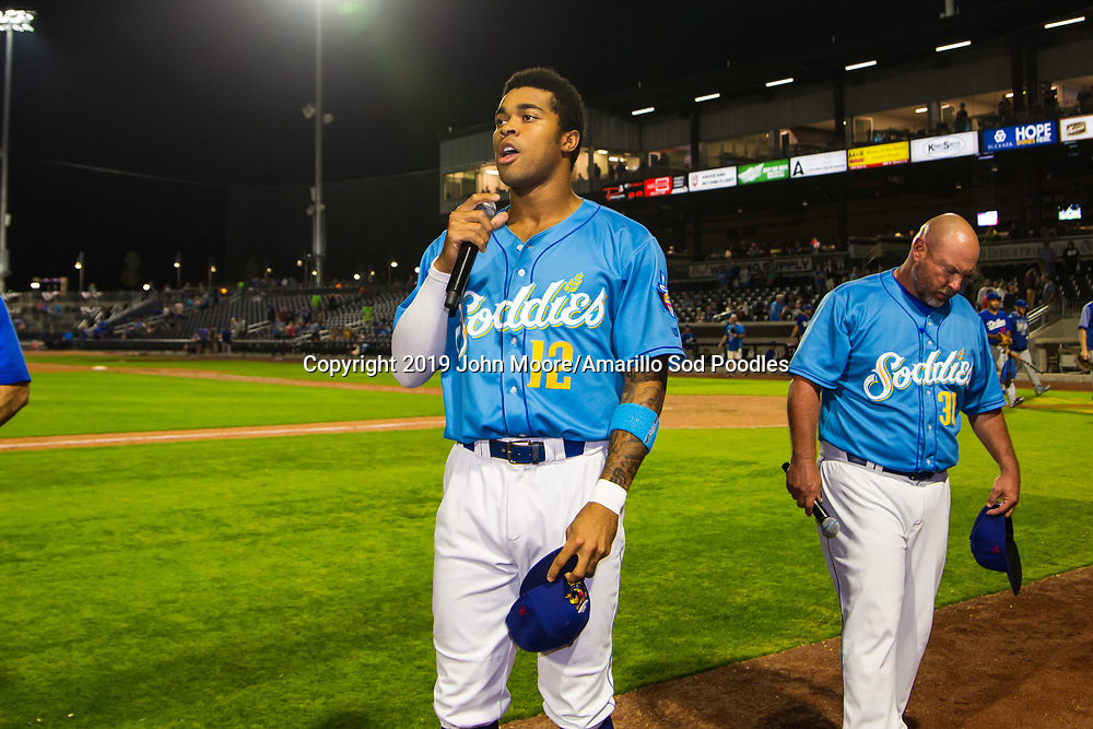Amarillo Sod Poodles outfielder Buddy Reed (12) addresses the crowd after the game against the Tulsa Drillers during the Texas League Championship on Wednesday, Sept. 11, 2019, at HODGETOWN in Amarillo, Texas. [Photo by John Moore/Amarillo Sod Poodles]