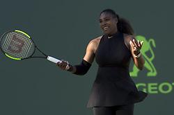 March 21, 2018 - Miami, FL, United States - Miami, FL - March, 21: Serena Williams (USA) upset here, loses 36 26 to Indian Wells Champion, Naomi Osaka (JPN) at the 2017 Miami Open held at the Tennis Center at Crandon Park.   Credit: Andrew Patron/Zuma Wire (Credit Image: © Andrew Patron via ZUMA Wire)