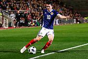 Man Of The Match Lewis Morgan Scotland U21s (Celtic FC)  during the U21 UEFA EUROPEAN CHAMPIONSHIPS match Scotland vs England at Tynecastle Stadium, Edinburgh, Scotland, Tuesday 16 October 2018.