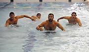 (L to R) Scotland players Ruaridh Jackson, Simon Danielli and Mike Blair race each other as they wade through the pool.<br /> Scotland rugby union team post match recovery session, Rugby World Cup, Southland Aquatic Centre, Invercargill, Southland, New Zealand, Sunday 10th September 2011<br /> PLEASE CREDIT ***FOTOSPORT/DAVID GIBSON***