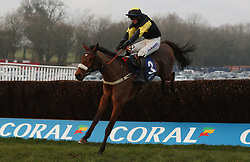Elegant Escape ridden by Tom O'Brien on their way to victory in the Coral Welsh Grand National Handicap Chase during the Coral Welsh Grand National day at Chepstow Racecourse.