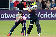Ian Cockbain smashes the ball during the NatWest T20 Blast South Group match between Gloucestershire County Cricket Club and Middlesex County Cricket Club at the Bristol County Ground, Bristol, United Kingdom on 15 May 2015. Photo by Alan Franklin.