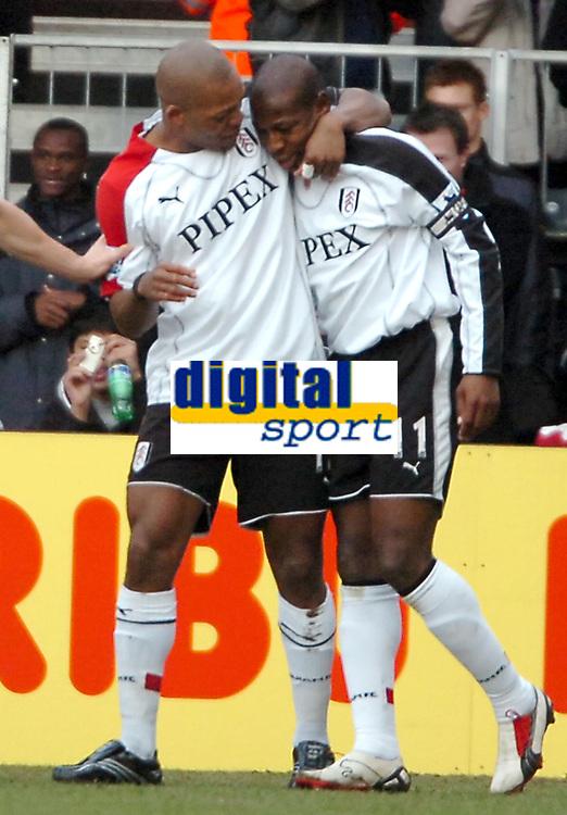 Photo: Ed Godden.<br /> Fulham v Chelsea. The Barclays Premiership. 19/03/2006.<br /> Collins John and Luis Boa Morte celebrate for Fulham.
