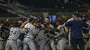 The Columbus Clippers celebrate after winning the MiLB International Championship baseball game against the Durham Bulls, Thursday, September 12, 2019, in Durham, N.C. The Clippers beat the Bulls 6-2 to complete a three-game sweep of the two-time defending champion. (Brian Villanueva/Image of Sport)