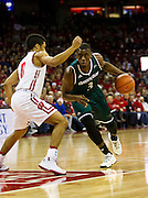 UW-Green Bay guard Khalil Small (3) drives the lane during the first half of the UW-Green Bay Men's Basketball game versus University of Wisconsin at the Kohl Center, Wednesday, December 14, 2016.