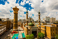 Tower, International Grand Bazaar and Mosque, Urumqi, Xinjiang Province, China. Urumqi is the capital of the Xinjiang Uyghur Autonomous Region of the People's Republic of China in Northwest China. Urumqi was a major hub on the Silk Road during China's Tang dynasty. It sits <br /> on the edge of the Gobi Desert.